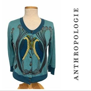 Anthropologie Knitted Dove Peacock Cardigan Blue
